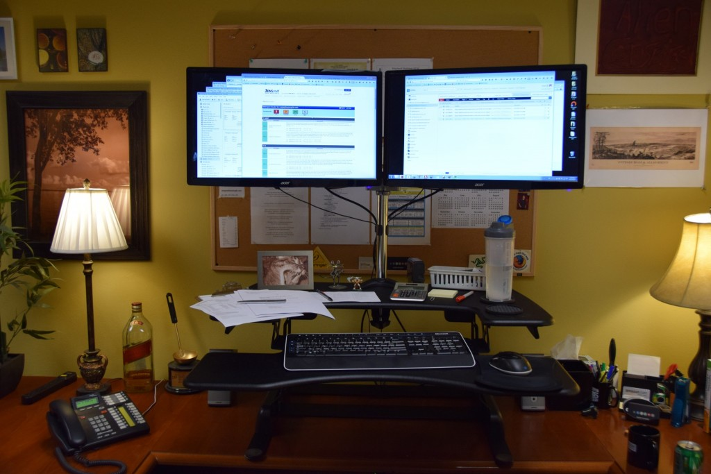 VARIDESK with monitors mounted